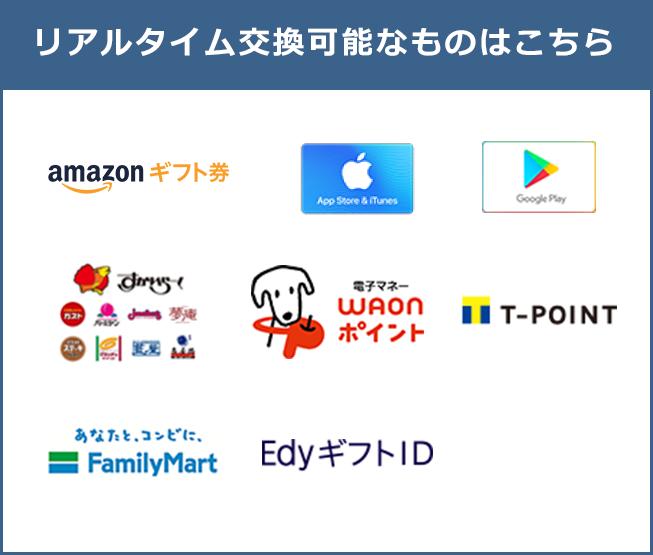 リアルタイムで交換可能なものはこちら:amazonギフト券、iTunesギフトコード、Google Pay、スカイラーク、電子マネーWAON、T-POINT、FamilyMart、EdyギフトID